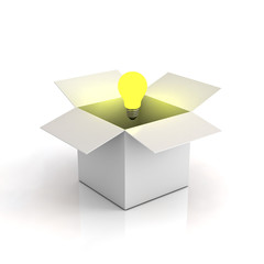 Opened cardboard box with lit light bulb on white