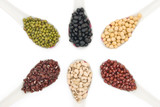 top view different beans with clipping path