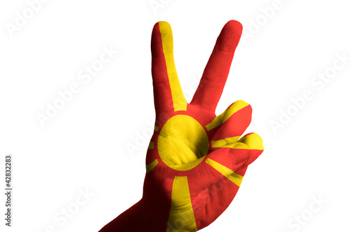 macedonia national flag two finger up gesture for victory and wi