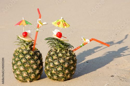 Two tropical cocktails on the beach