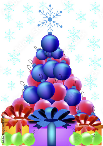 Vector Christmas Tree from the beads and gifts