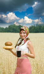 Girl  with beer and bread