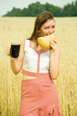 Girl  with quass and bread