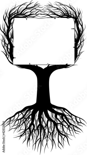 Tree silhouette with blank space
