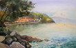 Watercolor painting seascape of the Croatia
