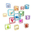 Mobile computer application icons isolated