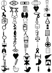 Set of 60 icons on the medical theme