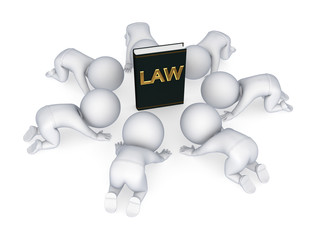 3d small people around book of law.