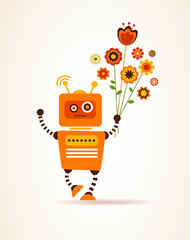 Orange robot with flowers, for greeting card