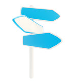 Blue copyspace signpost with empty plates