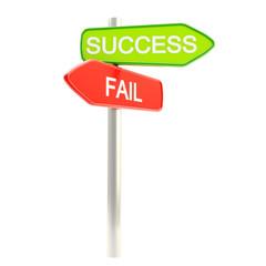 Success versus failure as roadsign post