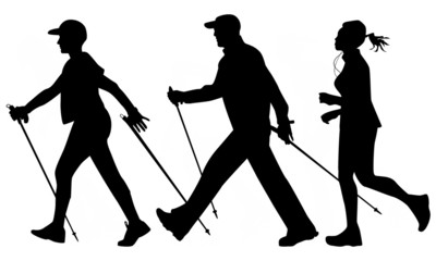 Woman and man are practicing Nordic walking. Jogging