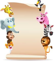 Animal cartoon with blank paper