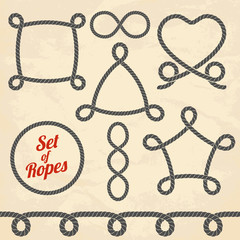 Set of ropes. Vector illustration.