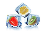 Fruit in ice cubes over white - 42838410