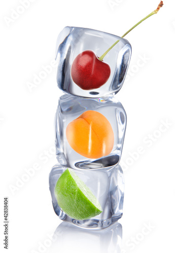 Fruit in ice cube