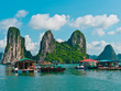 View of Floating Fishing Village in Halong Bay