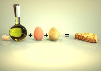 Botella de aceite mas Huevo y Patata igual Tortilla