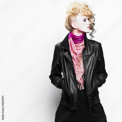 Beautiful woman with art hairstyle. Fashion photo