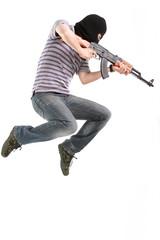 Terrorist with submachine gun.