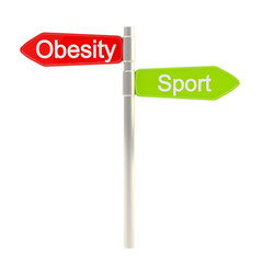Obesity versus sport as road sign plate