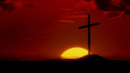 The Risen Christ: Time-lapse sunrise behind Calvary cross