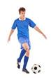 Footballer with soccer ball