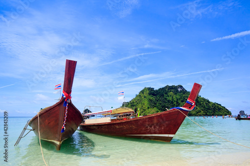 Thai traditional boats on Krabi island