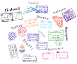 Real visa stamps from 9 countries