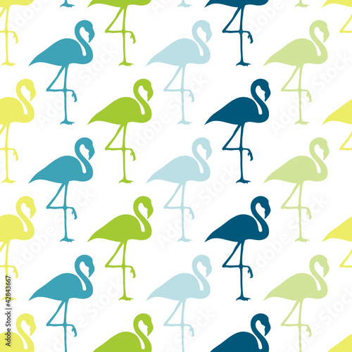 Seamless Pattern Blue/Green Flamingos © Jan Engel