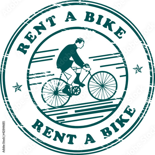 Stamp with bicycle and the words Rent a Bike inside