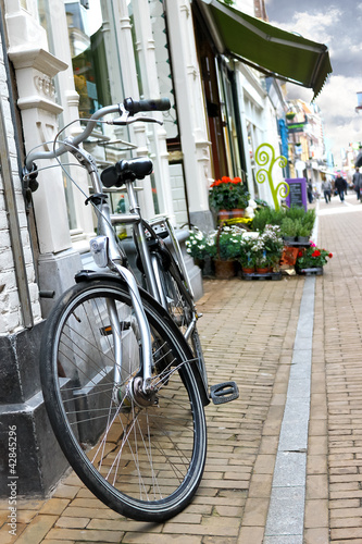 Bicycle is parked near  flower shop in Gorinchem. Netherlands