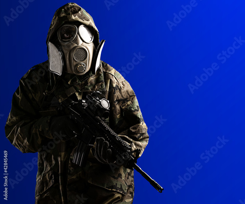 young soldier with mask