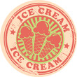 Vintage retro ice cream label, vector illustration
