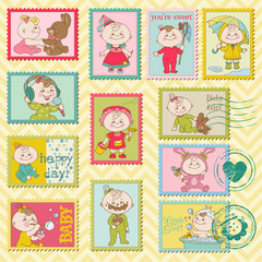 Baby Girl Postage Stamps - for scrapbook, invitation, arrival