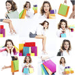 happy woman shopping collage
