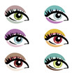 makeup eyes set of vector symbols