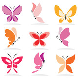 Fototapety set of butterfly icons