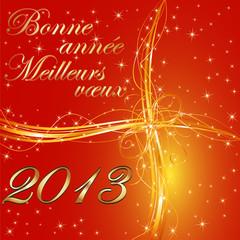 Bonne année 2013 fond rouge format carré