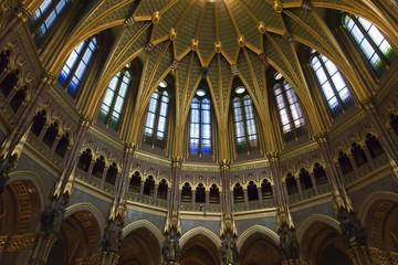 Inside of  famous parliament in Budapest, Hungary