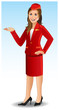 Attractive air-hostess in red uniform