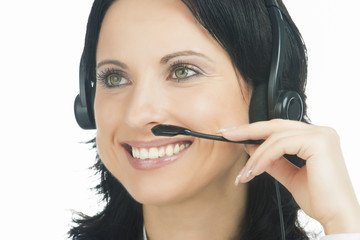 closeup portrait of brunette call-center customer's support oper