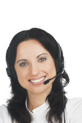 closeup portrait of young smiling brunette call-center customer'