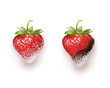 strawberries in chocolate. sugar and coconut. vector