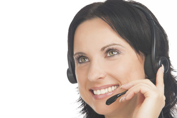 closeup of customer's support operator with headset