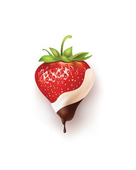 strawberries in chocolate white and black. vector