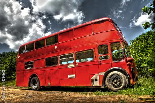 In de dag Londen rode bus Leyland Bus HDR - High Dynamic Range