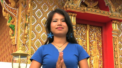 Asian Girl Does Thai Greeting Two Times