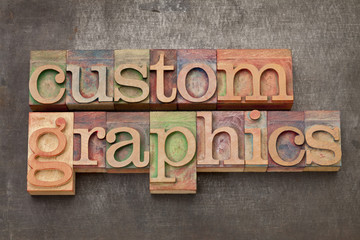 custom graphics in wood type