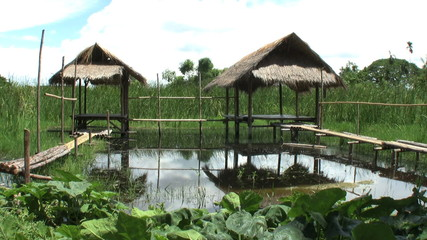 Bamboo Huts On Stilts Over Water